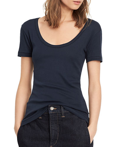 VINCE Scoop-V-Neck Short-Sleeve Tee in Coastal Blue