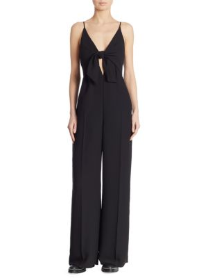 Knot Front Overlay Crepe Jumpsuit, Black