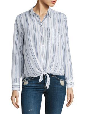 277ee330f9f479 EQUIPMENT Daddy Striped Tie-Front Silk Shirt
