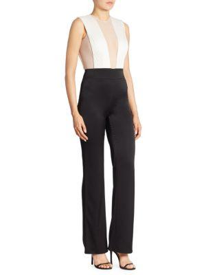 Sleeveless Deep-V Sheer-Tulle Bodice Bicolor Tuxedo Jumpsuit, Black White