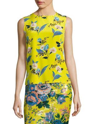 0c483aae2c076 DIANE VON FURSTENBERG Floral-Print Sleeveless Silk Shell Top ...