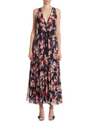 Woman Belted Printed Silk-Georgette Wrap Dress Multicolor in Black Multi
