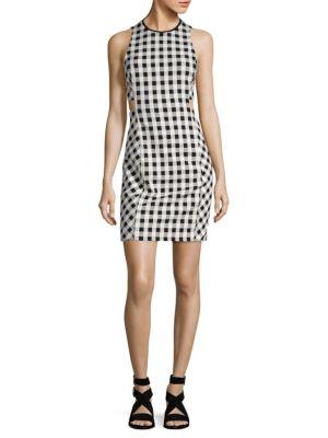 Tahoe Sleeveless Checkered-Print Dress, Black White
