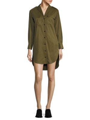 Mason Long-Sleeve Shirt Dress, Olive, Dark Olive
