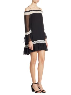 Willie Cold-shoulder Lace-trimmed Silk-chiffon Mini Dress - Black Alice & Olivia