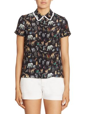 Discount Pre Order Willa Large-Collar StaceFace Printed Silk Top Alice & Olivia Sneakernews Cheap Price Clearance Big Sale Official For Sale Clearance Genuine 20K7DQ75V0