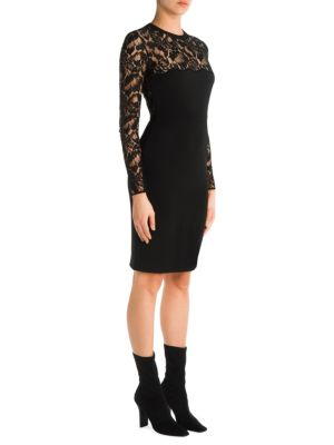 Sally Lace-Paneled Stretch-Crepe Mini Dress in Black