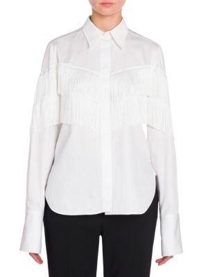 Alina Fringed Cotton Shirt in White