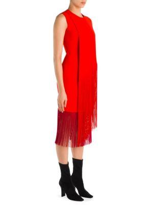 Sleeveless Fringed Midi Dress, Orange/Pink, Lipstick