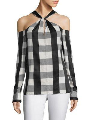 Collingwood Cold-Shoulder Gingham Cotton-Blend Top, Black White