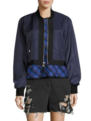 'Silvia' Ruched Nylon Cropped Bomber Jacket in Peacoat