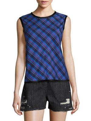 Dalya Plaid Sleeveless Cotton Top, Blue Pattern in Multicolored