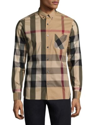 Button-Down Collar Check Stretch Cotton Blend Shirt, Camel