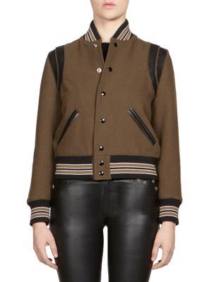 Teddy Leather-Trimmed Wool-Blend Bomber Jacket, Khaki