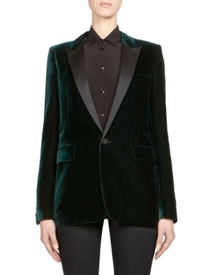 Satin-Trimmed Velvet Tuxedo Blazer in Green