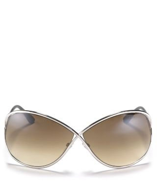 Miranda 68Mm Open Temple Oversize Metal Sunglasses - Bronze, Shiny Bronze