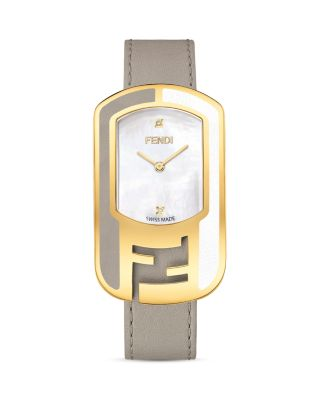 Chameleon Diamond, Mother-Of-Pearl, Goldtone Stainless Steel & Leather Strap Watch/Tortura, Yellow Gold/White/Tortora