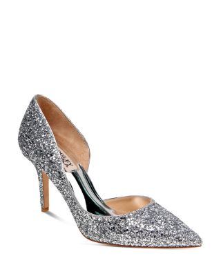 BADGLEY MISCHKA Daisy Glitter Half D'Orsay Pointed Toe Pumps in Platino