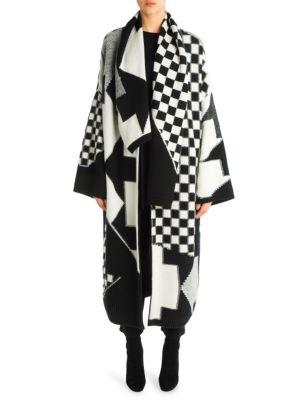 Checkboard Intarsia Oversized Knit Coat, Ivory Black