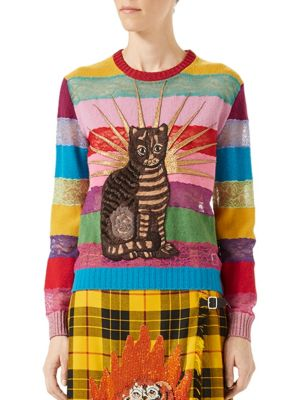 Cat Embroidered Lace & Wool Sweater, Multicolor in Multicolour