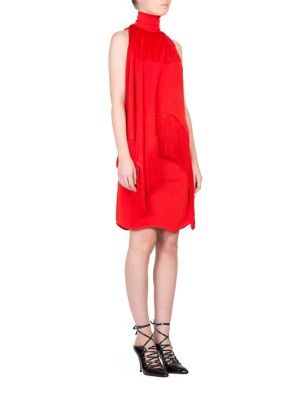 Givenchy Woman One-shoulder Fringed Jersey Turtleneck Mini Dress Red Size 36 Givenchy qsOWOEZq