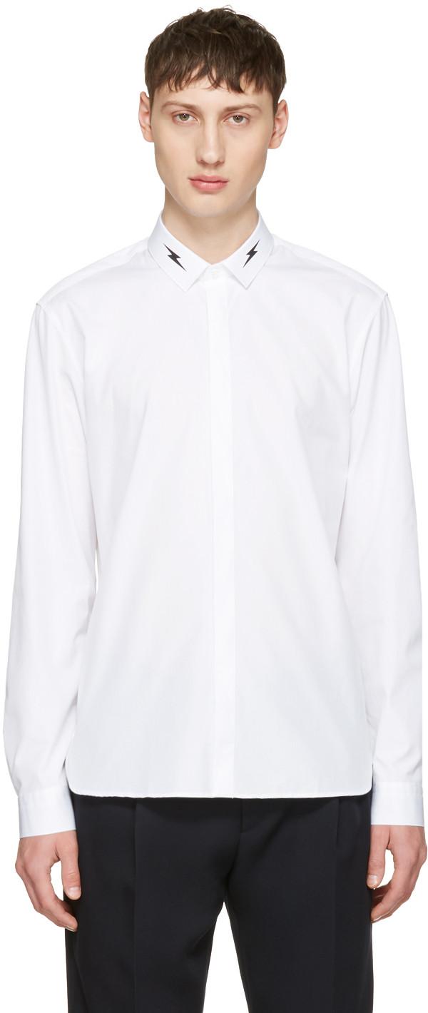 NEIL BARRETT Cotton Poplin Shirt W/ Printed Bolt, White & Black