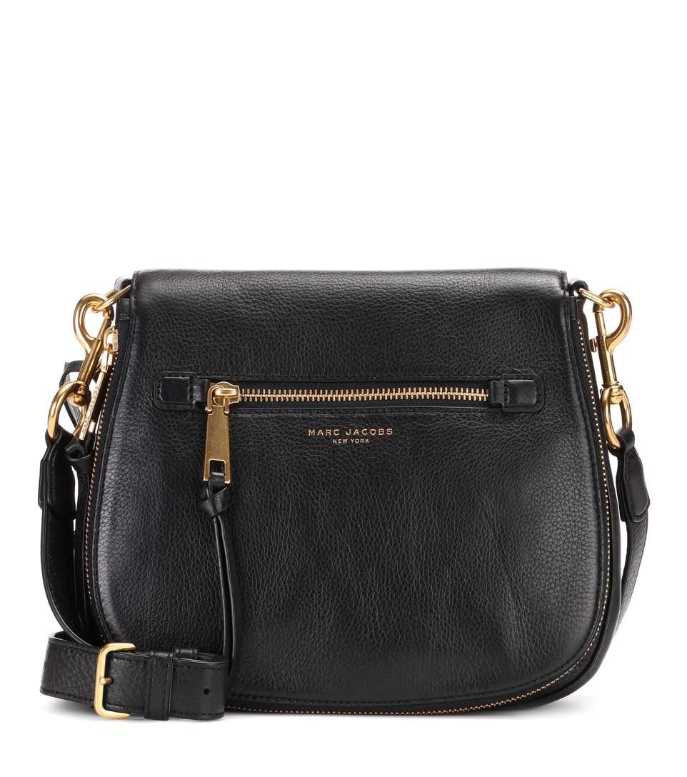 Recruit Small Nomad Leather Shoulder Bag in Black