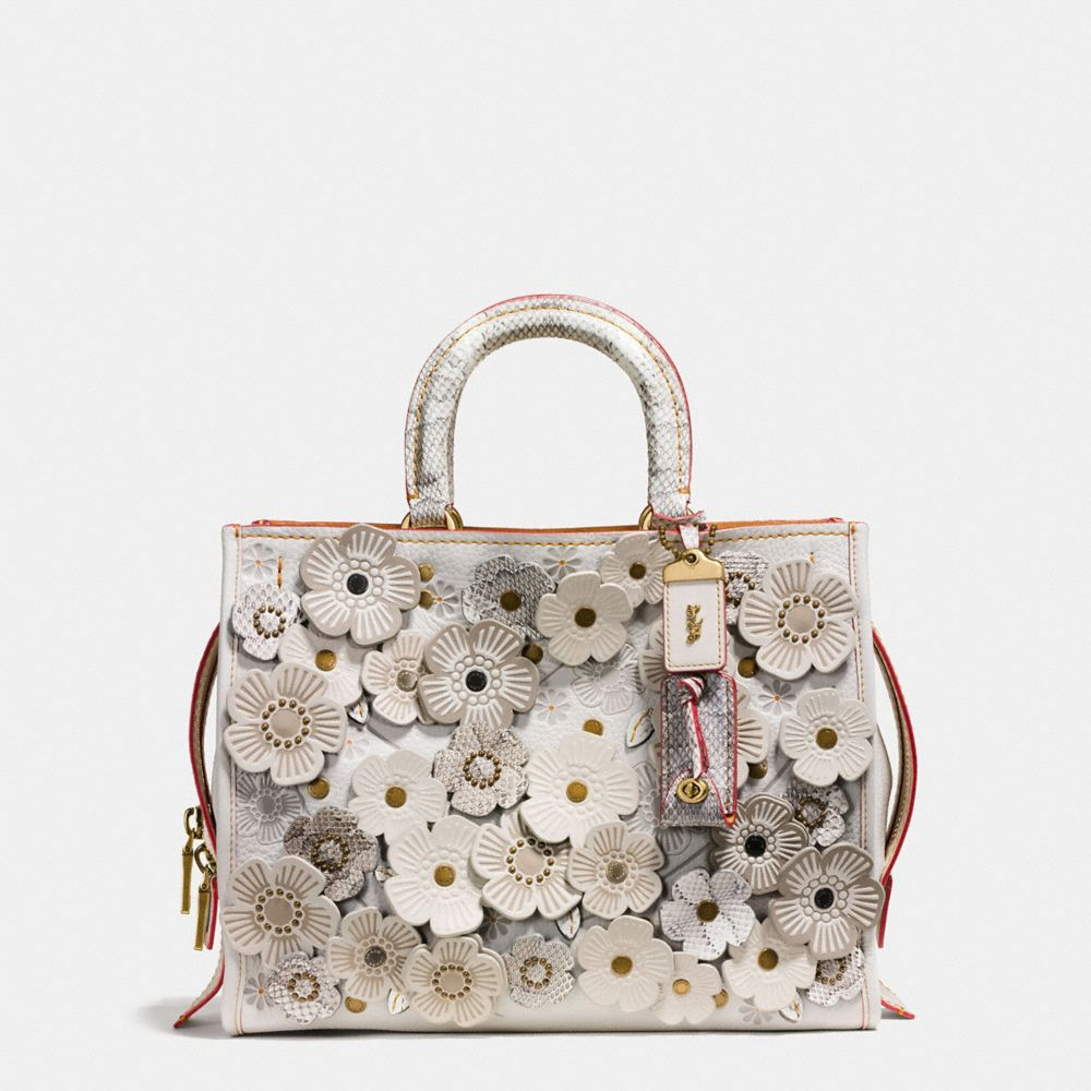 COACH ROGUE IN GLOVETANNED LEATHER WITH EXOTIC TEA ROSE, : BP/CHALK