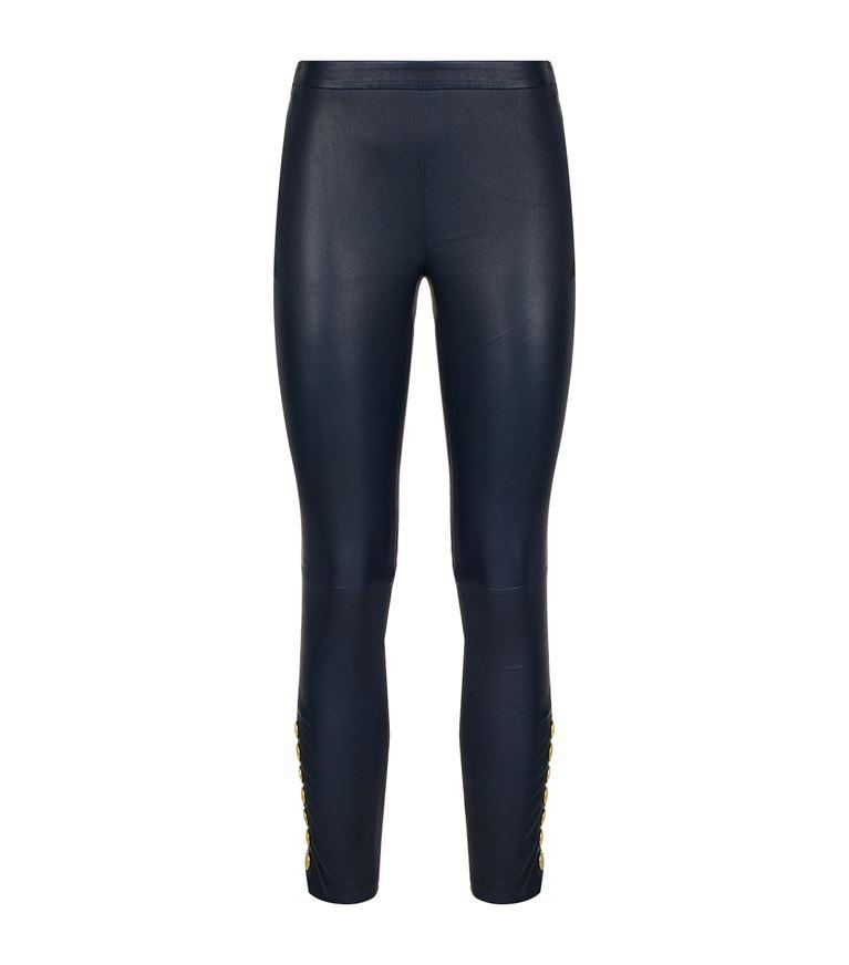 PIERRE BALMAIN Side Button Leather Leggings in Blue