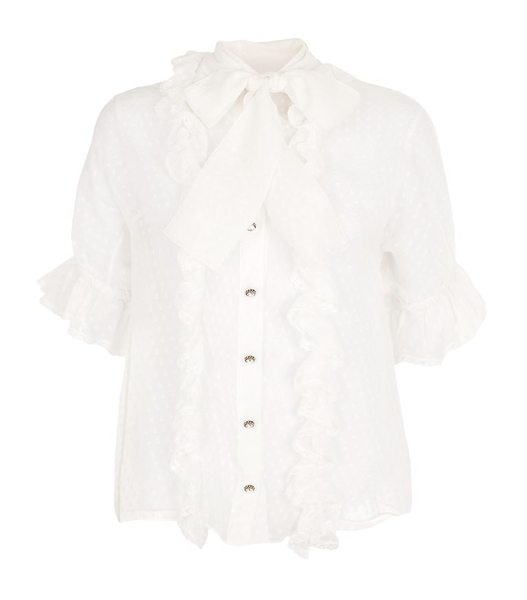 Dolce & Gabbana Ruffled Tie Neck Blouse In White