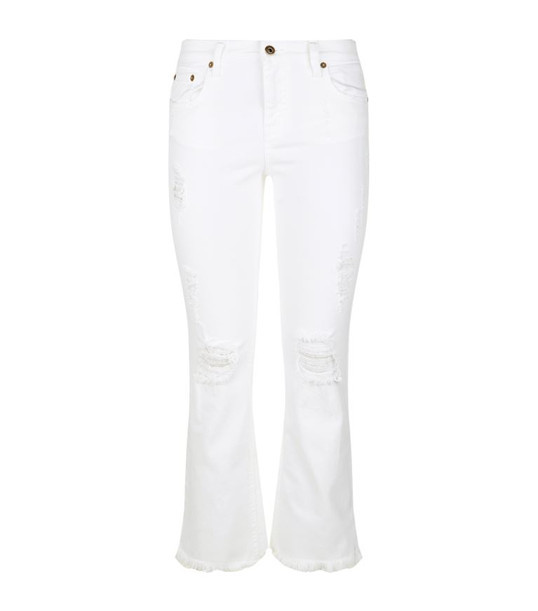 ROBERTO CAVALLI Cropped Distressed Jeans in White