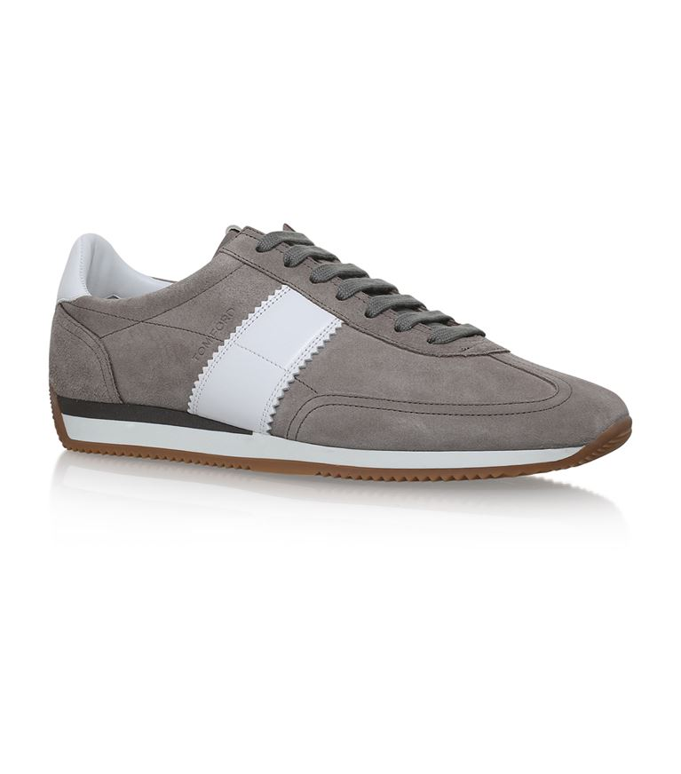 Orford Leather-trimmed Suede Sneakers - BeigeTom Ford YgVmshiW