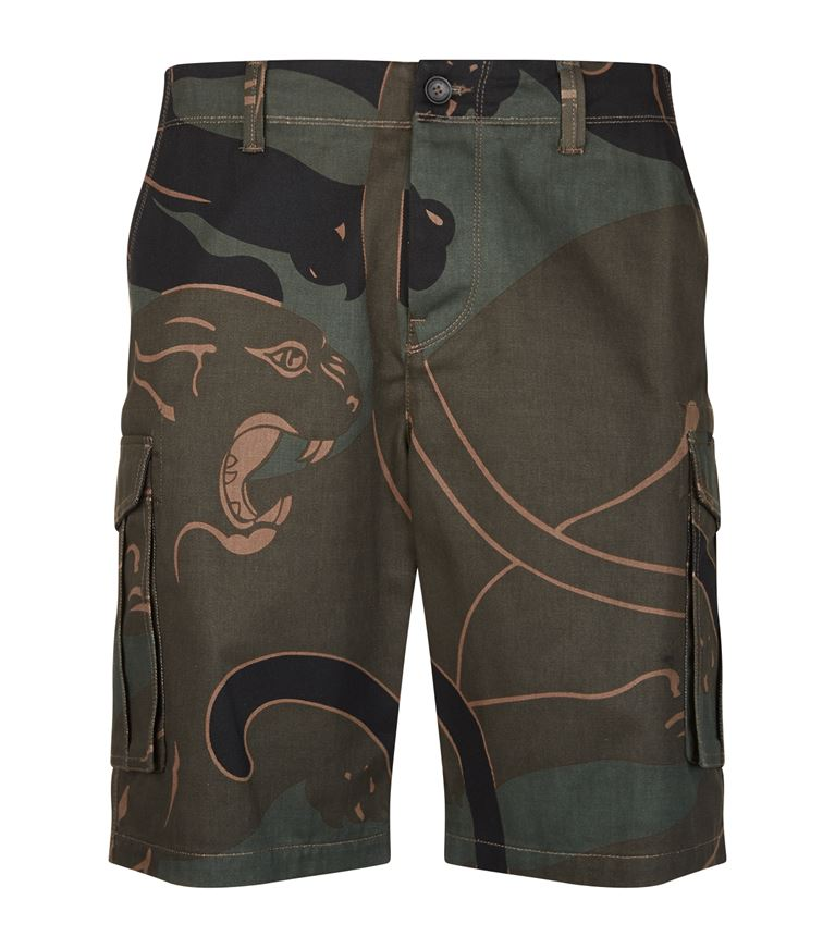 VALENTINO CAMOUFLAGE PANTHER SHORTS, GREEN