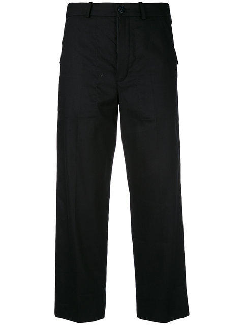 Wide-Leg Cropped Stretch-Wool Trousers, Blue