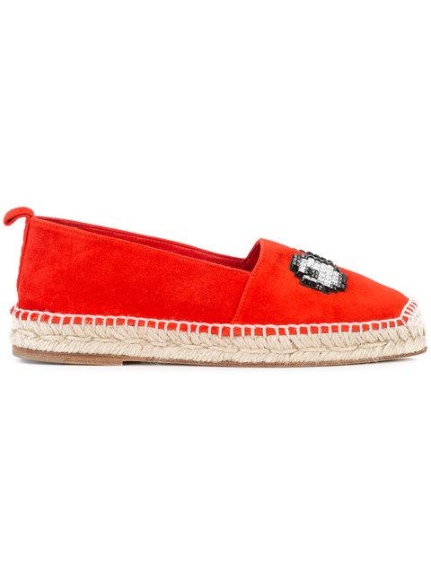 ANYA HINDMARCH EYES MOTIF EMBELLISHMENT ESPADRILLES, RED