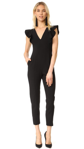 BLACK HALO Deklyn V-Neck Jumpsuit in Black