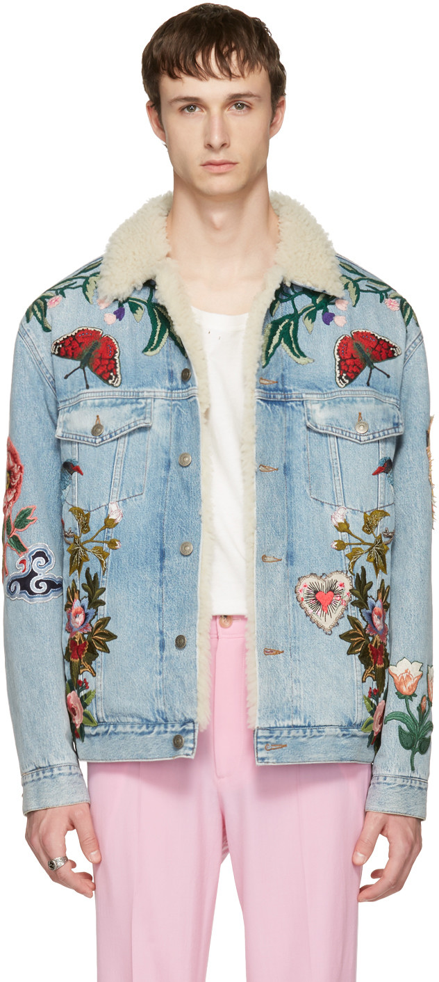 Shearling Lined Embroidered Denim Jacket in Blue
