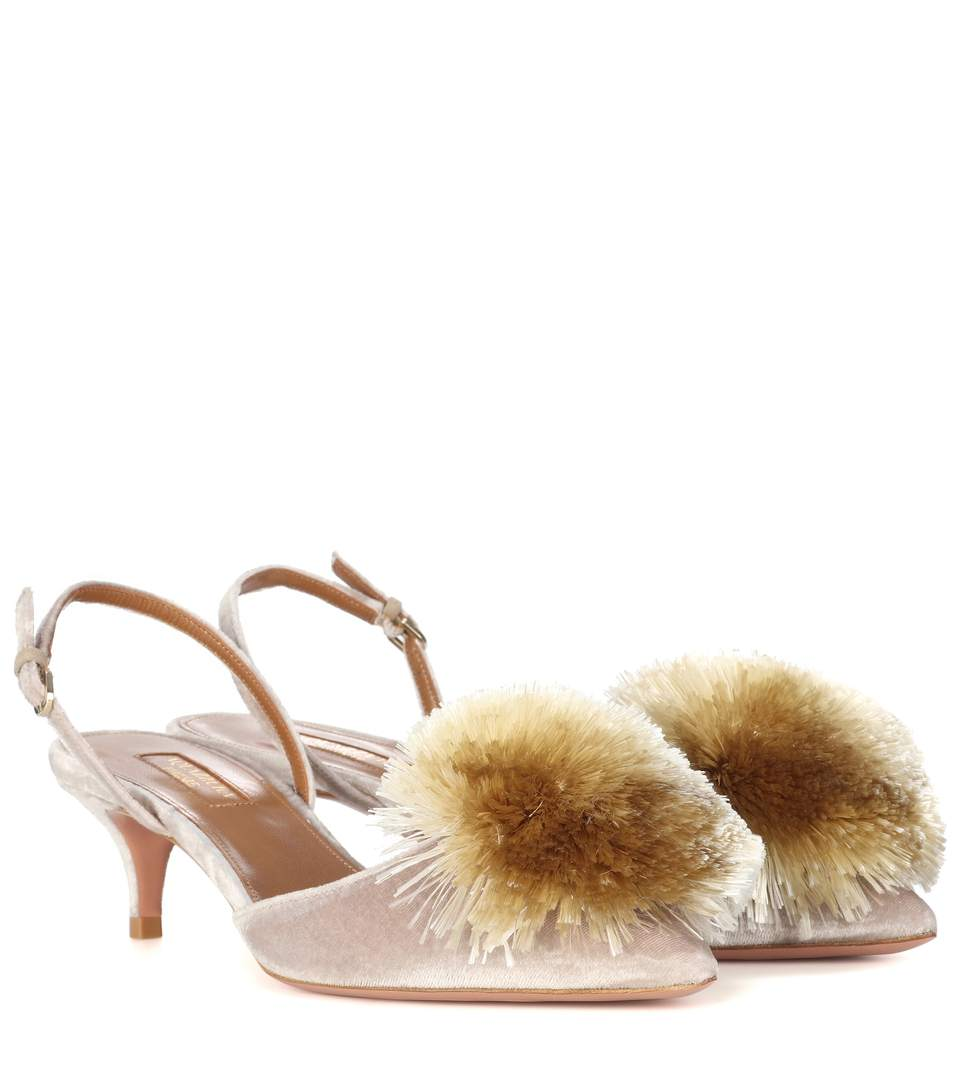 Powder Puff Pompom-Embellished Velvet Slingback Pumps, Grey