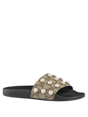 Pursuit Imitation Pearl Embellished Slide Sandal, Beige