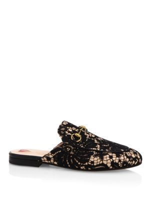 Princetown Floral-Lace Backless Loafers, Black