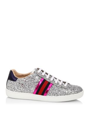 New Ace Striped Glitter Trainers, Silver