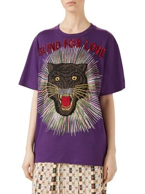 Panther-Embroidered Cotton T-Shirt in Violet