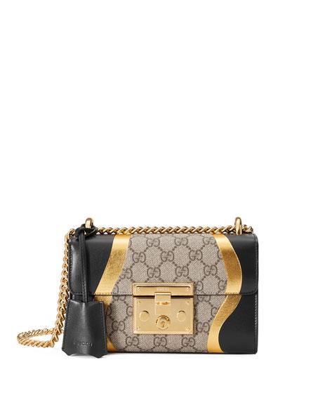 Padlock Small Gg Supreme & Leather Shoulder Bag, Black/Multi in Neutrals