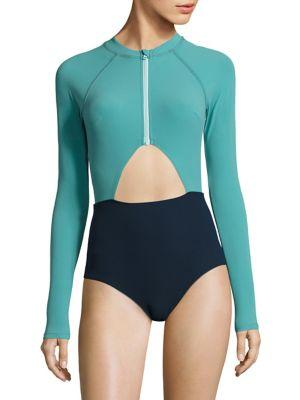 60467f458b3aa Flagpole Kelly One-Piece Swimsuit In Juniper Deep Navy Aqua ...