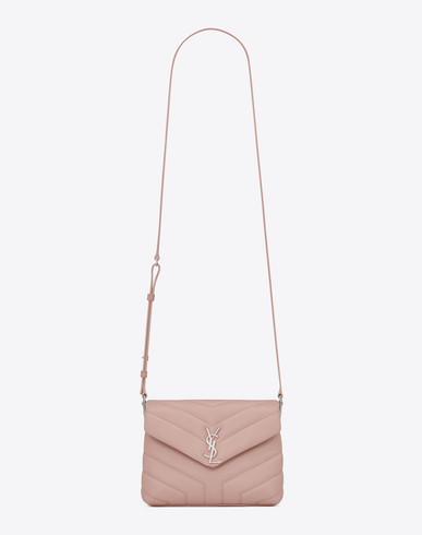 Loulou Monogram Ysl Mini V-Flap Calf Leather Crossbody Bag - Nickel Oxide Hardware, Pale Blush