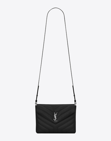 SAINT LAURENT Loulou Monogram Ysl Mini V-Flap Calf Leather Crossbody Bag - Nickel Oxide Hardware, Nero