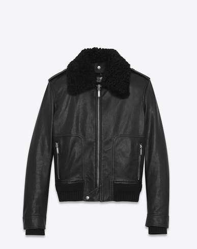 Shearling & Leather Jacket in Black