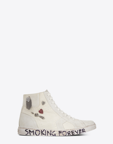 Joe Mid Top Sneaker In Used White Canvas And Ivory Suede, Off White