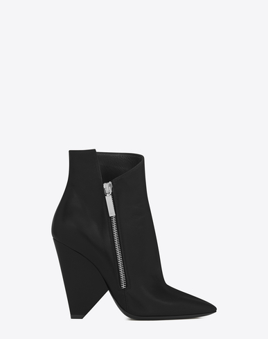 Black Leather Niki 105 Asymmetrical Ankle Boots
