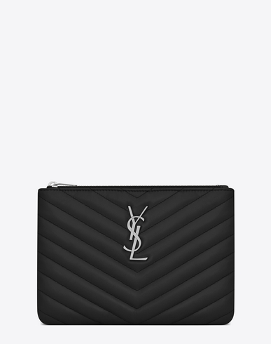 Monogram Key Pouch In Matelassé Leather, Black